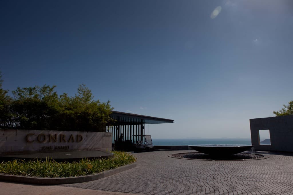 The grand entrance to the Conrad Koh Samui at the top