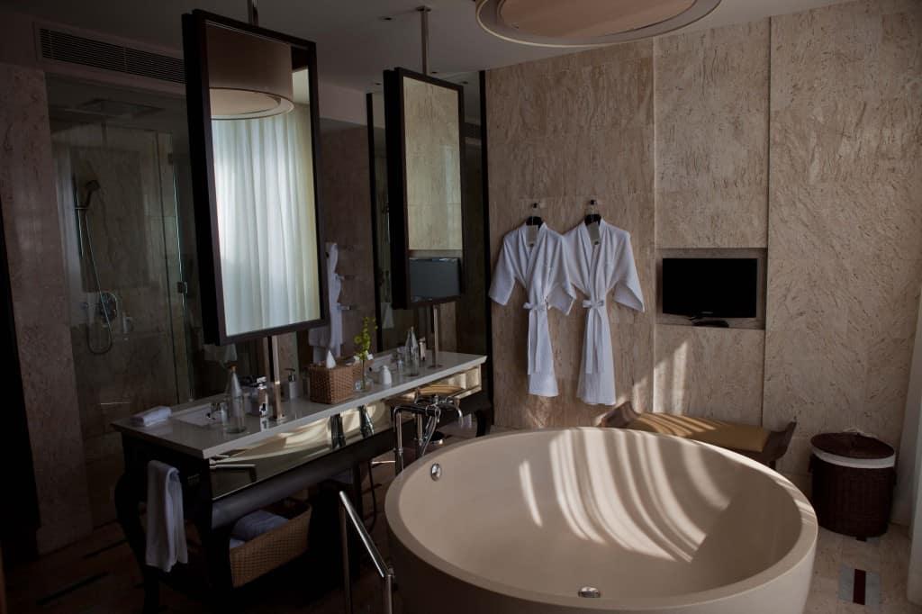Conrad Koh Samui Bathroom with Tub and Vanities
