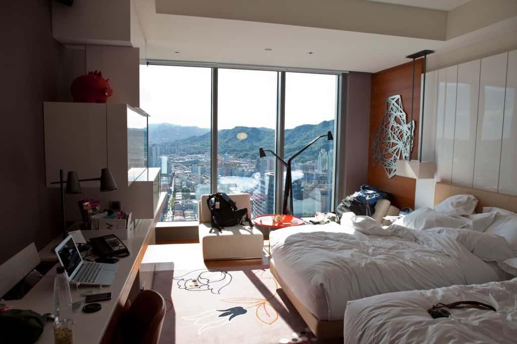 W Hotel in Taiwan unpacking mess