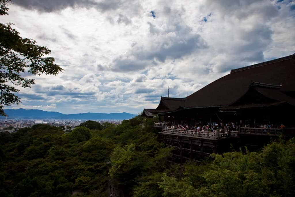 view from kiyomizudera temple in higyashima kyoto