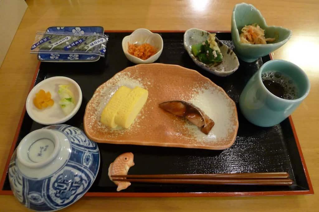 Traditional breakfast at Ryokan Shimizu