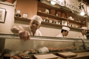 Master chef serving us the goods at Sushi Dai.