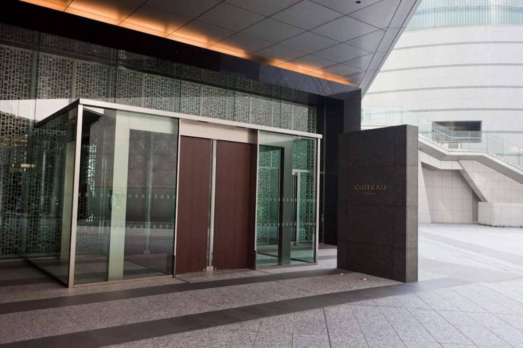 Ground floor entrance to the Conrad Tokyo.