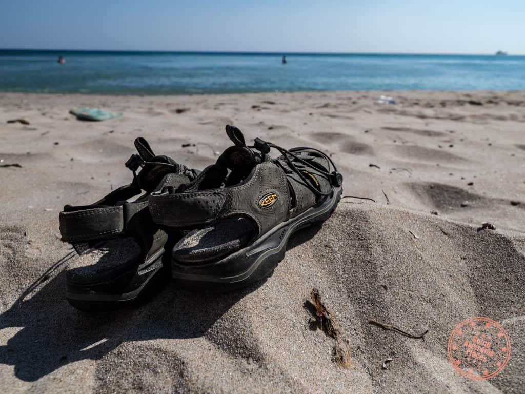 keen newport h2 sandals on beach in milos greece