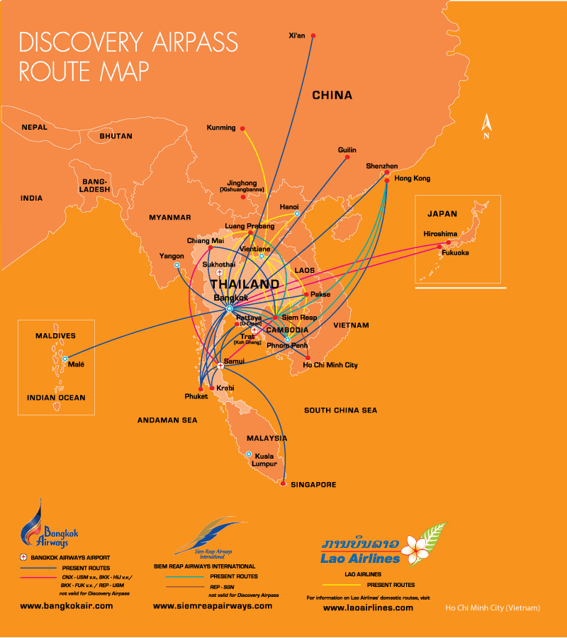 Bangkok Airways Discovery Airpass Route Map Lao Airlines