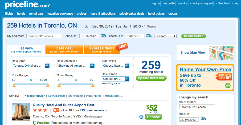 screenshot of priceline and where to click to get to the name your own price page