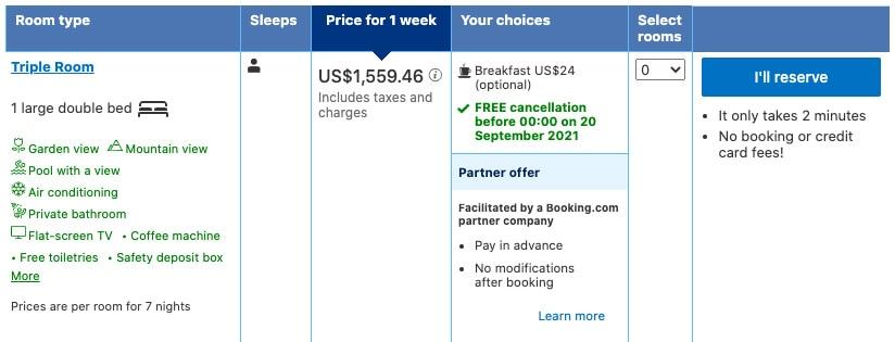 booking.com kauai beach resort comparison total cost