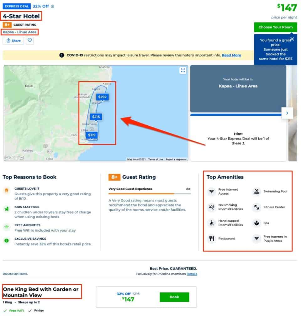priceline express deals hints to figure out which hotel it is