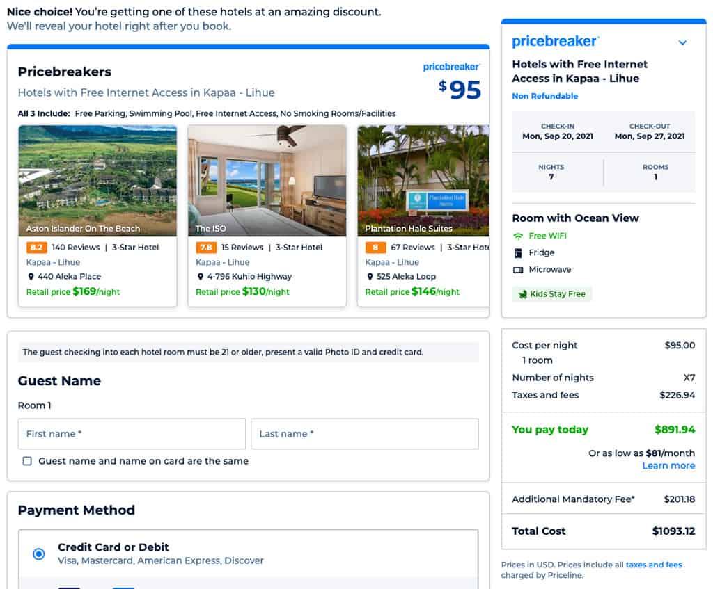 priceline pricebreakers final sale page for lihue kauai