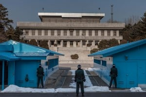 3 main guards watching those North Koreas.  See the North Korean guards on the steps?