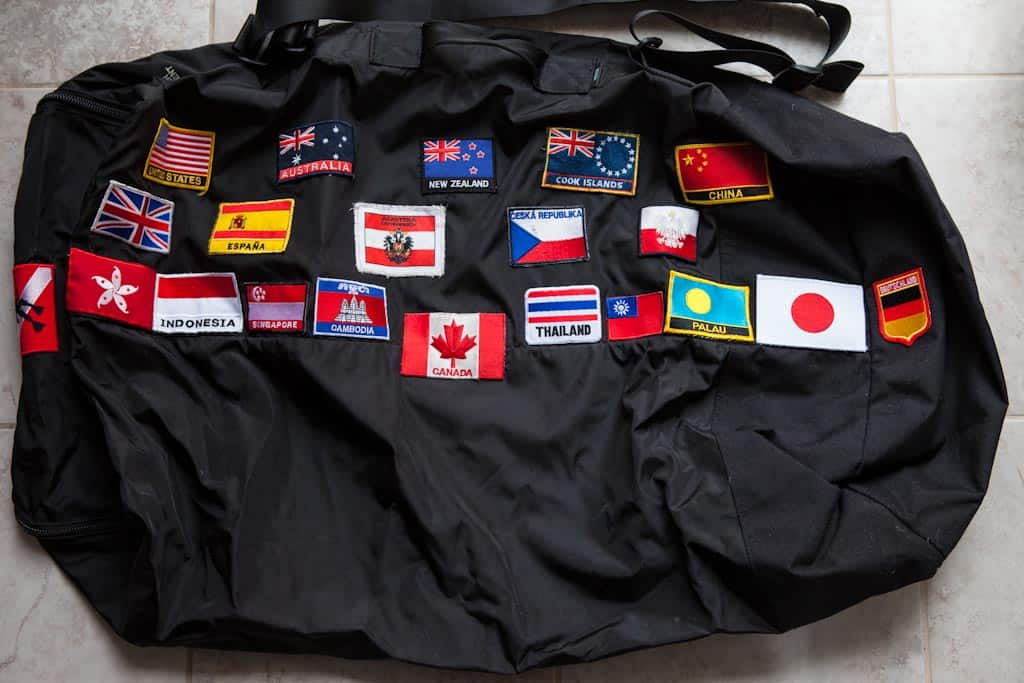 My backpack bag with my collection of country flags for each one i've visited