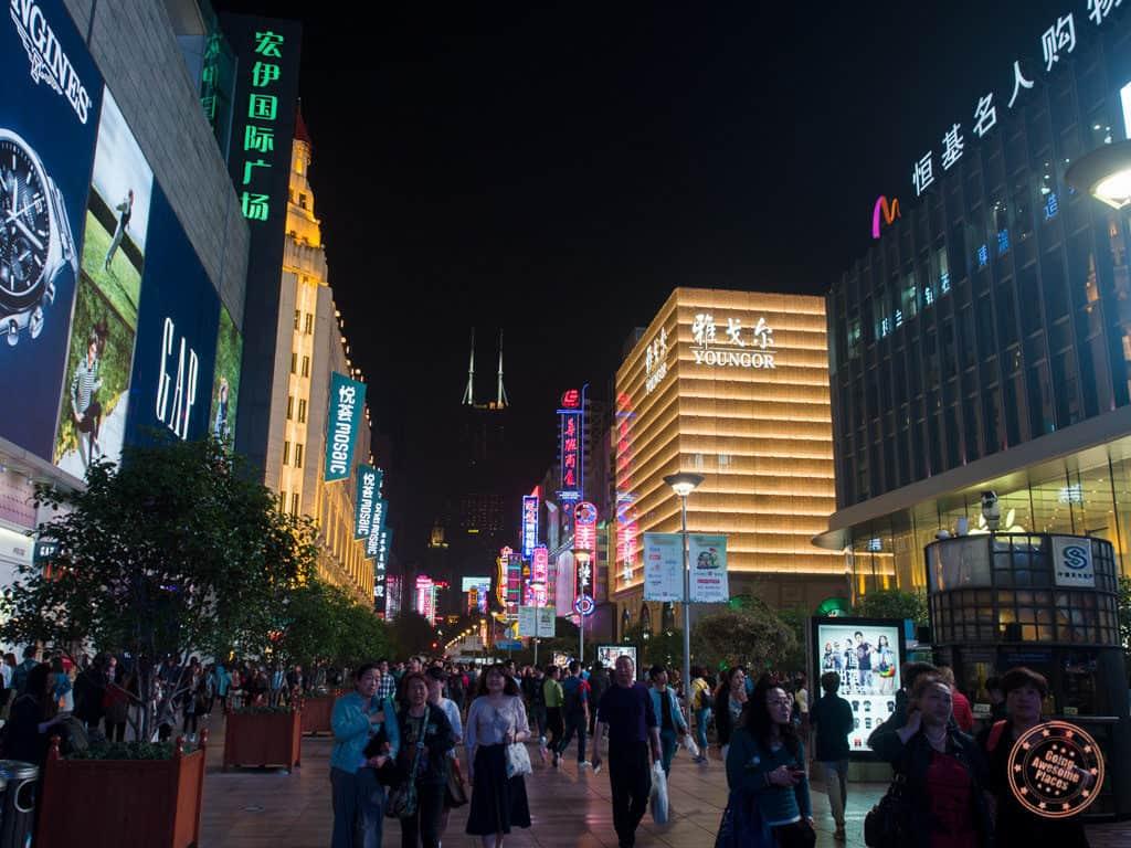 nanjing road east pedestrian street in shanghai