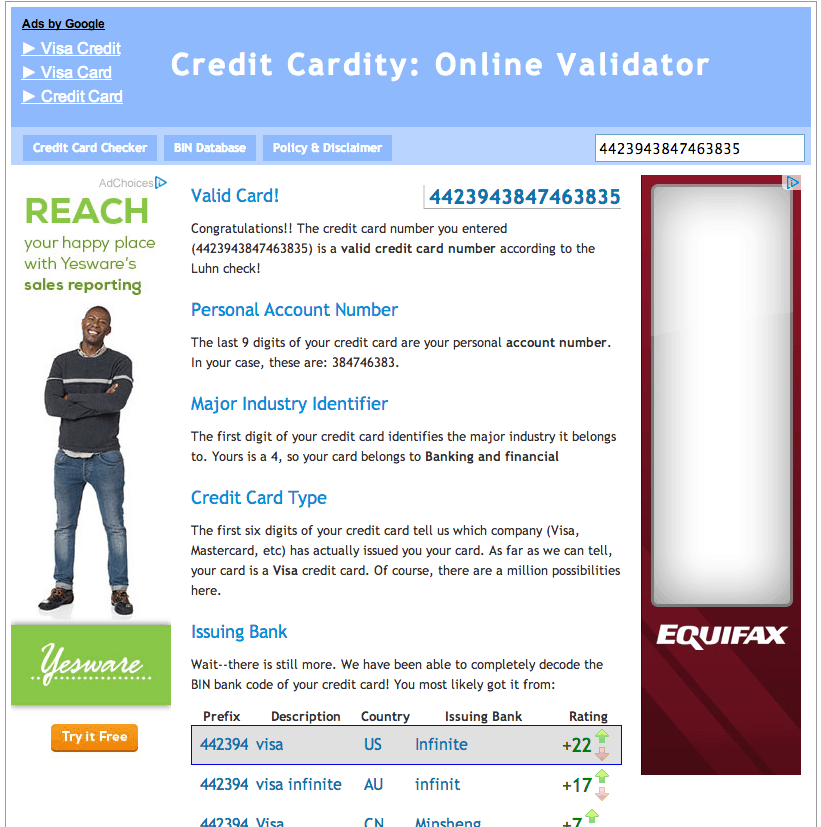 Credit Cardity Results