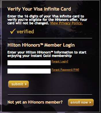 Hilton HHonors Instant Gold Login