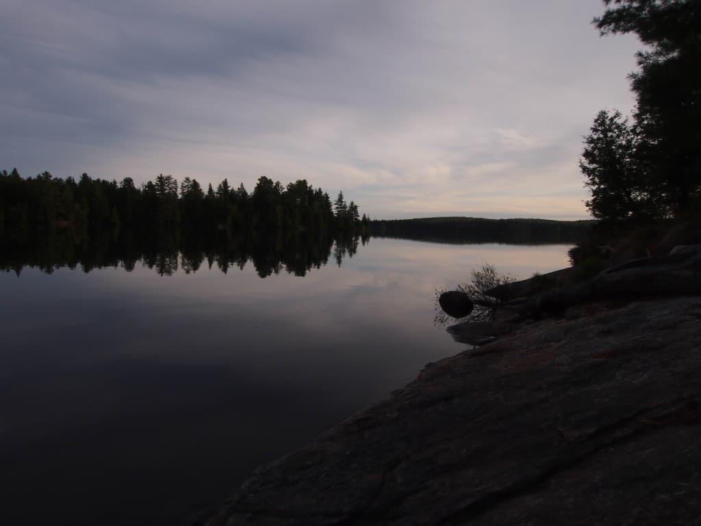 sunset at mcintosh lake in algonquin