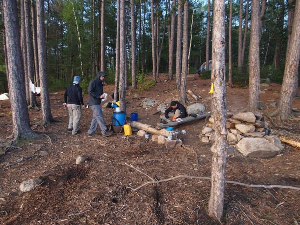 third campsite at burnt island lake in algonquin portage trip