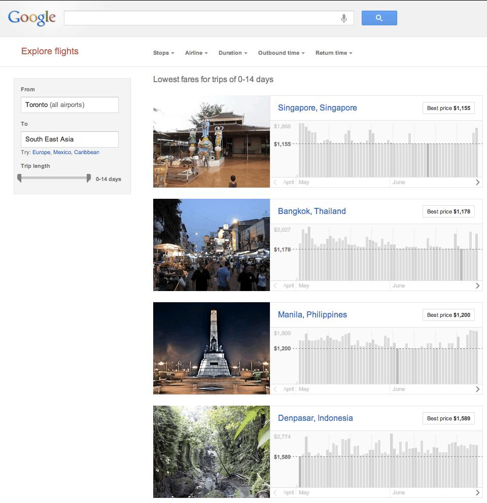 Google Flights Explore