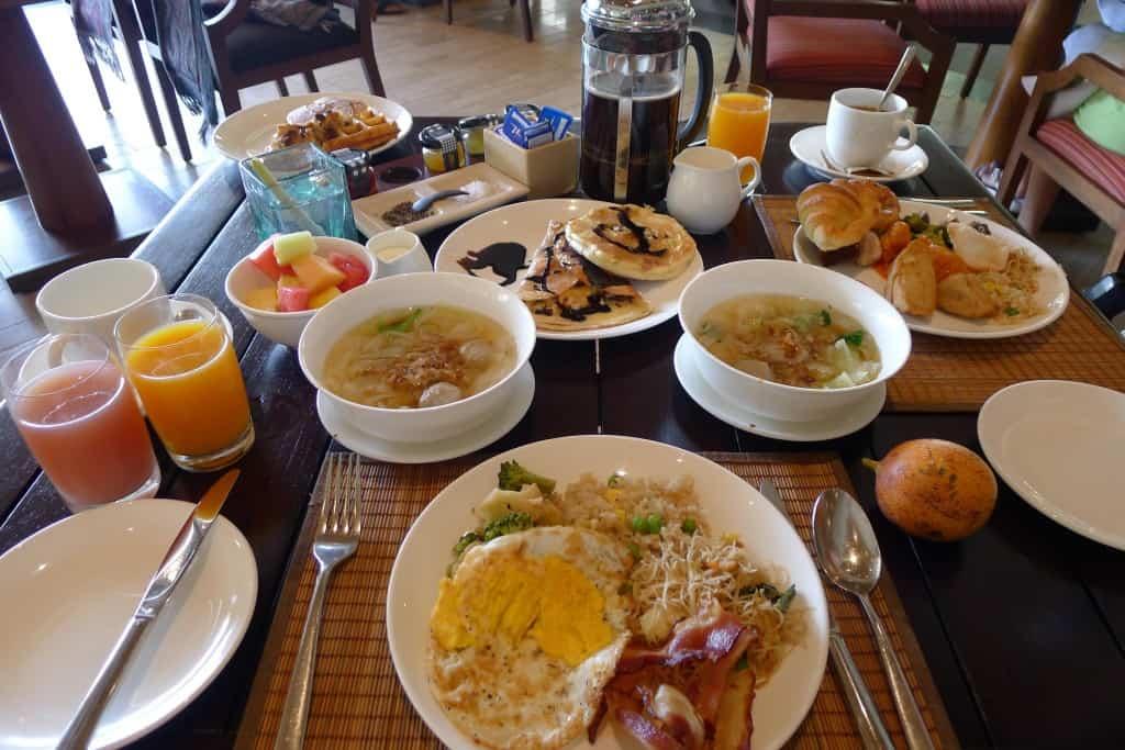 conrad bali breakfast plates food