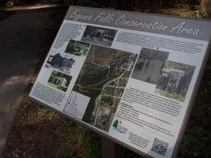 entrance information sign for eugenia falls