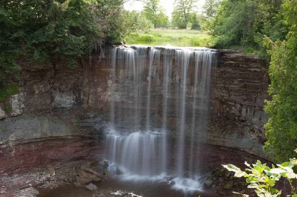 long exposure photography of indian falls in owen sounds north of toronto