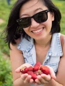 handfull of fresh strawberries from whittamore's farm