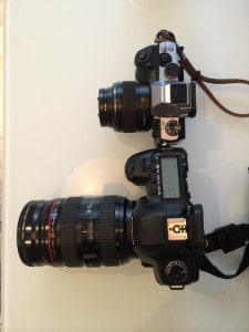 Side by side comparison of the Olympus OM-D and Canon 5D Mark 2