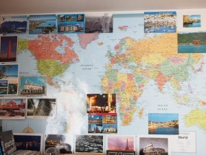 collecting, postcard, stamp, mail, map, wall
