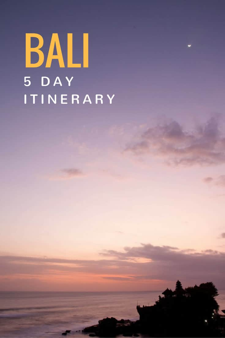 A trip guide to help you plan a 5 day itinerary to Bali, Indonesia that includes a real-life example of a plan that features what to see, do, and eat. #bali #visitbali #balibible