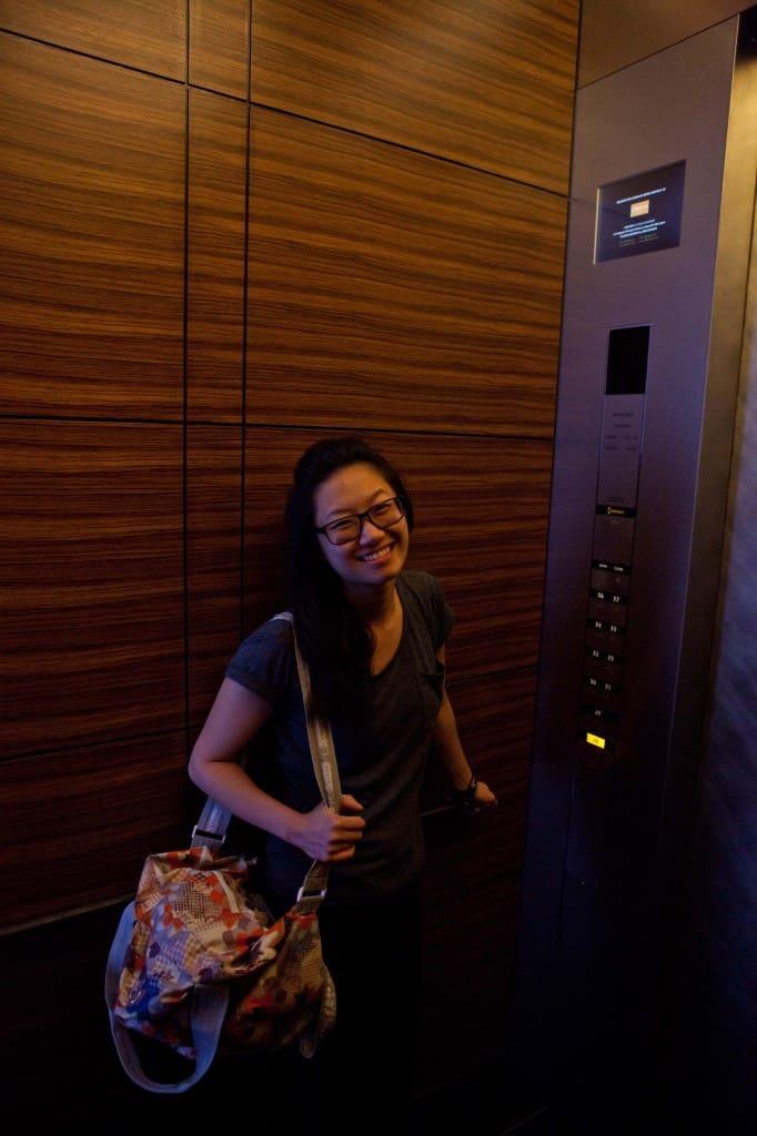 Inside the elevator.