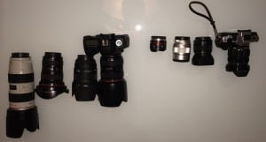 Top Down view of all of my camera gear.  DSLR stuff ont he left.  M43 stuff on the right.