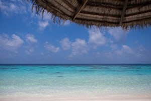 Capture a bit of foreground with the crystal clear waters. This was taken from the beach chair right outside our villa.