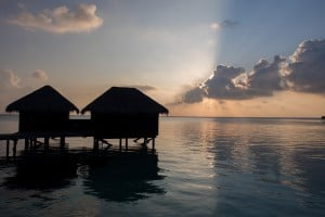 Sunset over the water villas we'd be moving into a little later on.