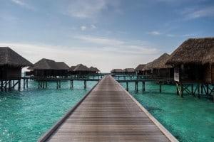 Prototypical Maldivian Water Villa shot with the Retreat Water Villas behind.