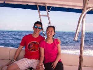 Speed boat ride to hunt for whale shark.