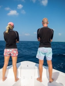 Once we got to our spot, the speed boat was put on low gear while Katie and Jacob went to the front of the boat to see if they could spot any dark long patches in the water. When they did, they called