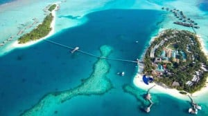 Another shot of the Conrad Maldives from above.