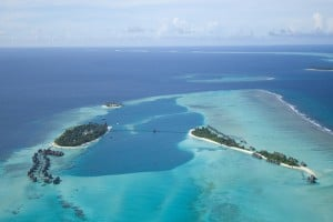 Aerial shot of the Conrad Maldives