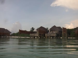 A view of the two water villas to our right.