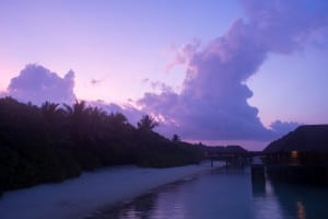Lots of great shots on the wooden platforms leading out to the water villas. This was taken at sunrise.