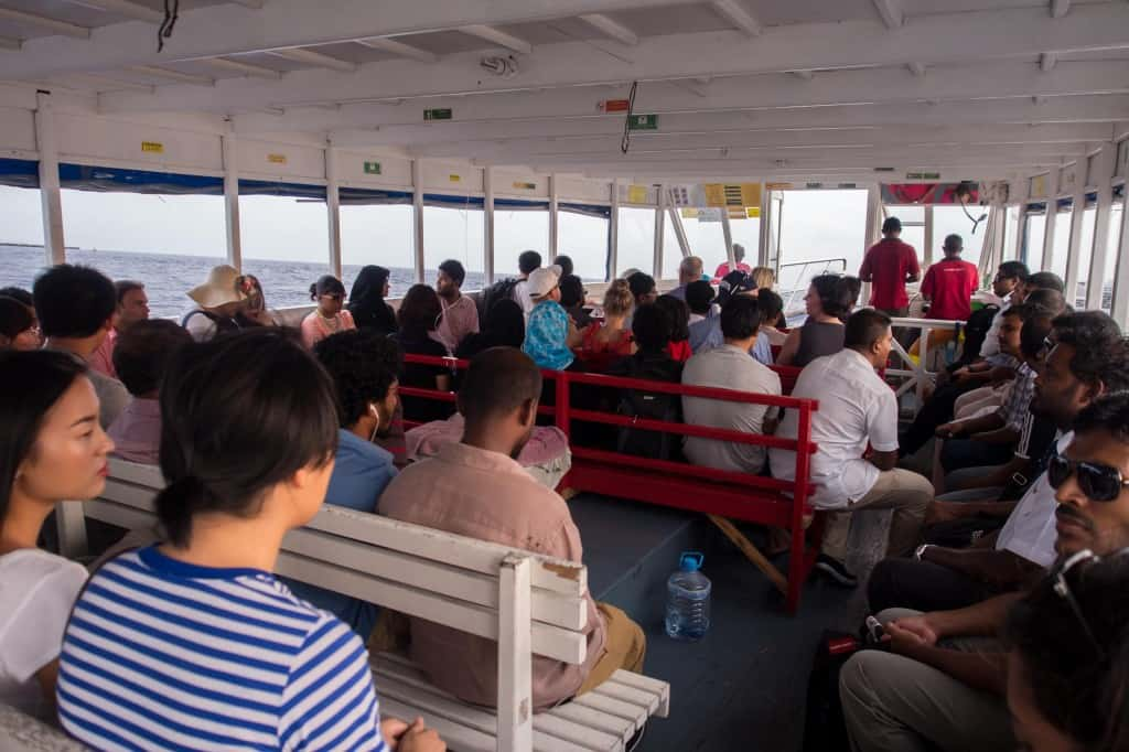 After landing at Male International Arirport, we requested the Conrad connecting us with a local guide to take us out into the city.  This is us on the  ferry.