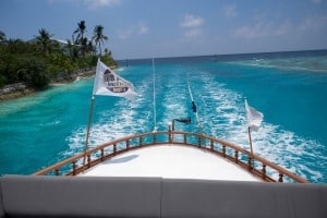Taken from the top of the dhoni on our way back to the resort. Wow the mattresses they set up on the roof are so comfy.