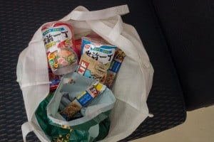 Our snack bag we brought from Hong Kong. No expenses spared haha.