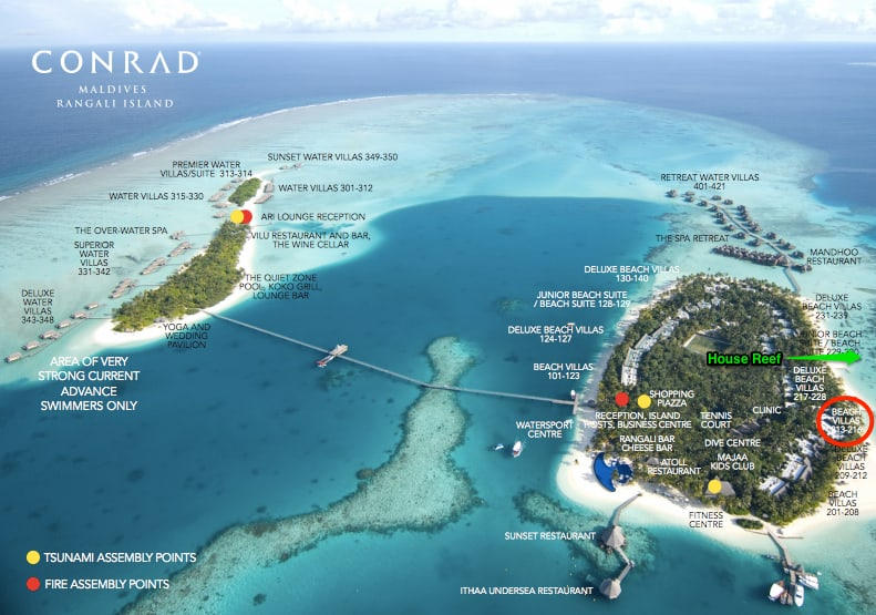 Map of the Conrad Maldives and location of Suite 213 and relative position to the House Reef.