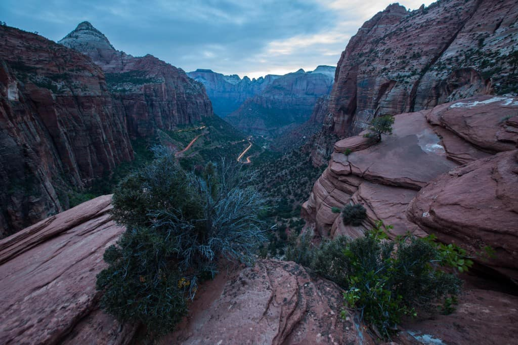 view at sunset on canyon overlook trail at zion national park
