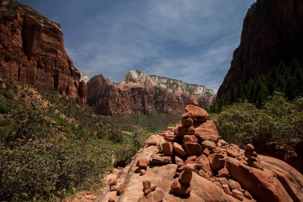 rock beacons along emerald pools trail at zion national park in utah