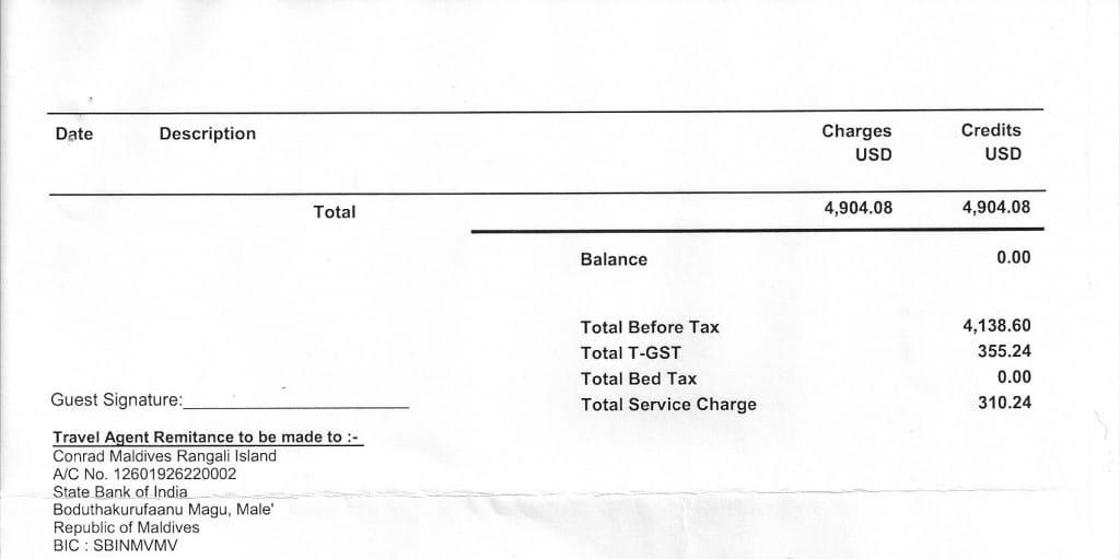 Conrad Maldives invoice sample page 2