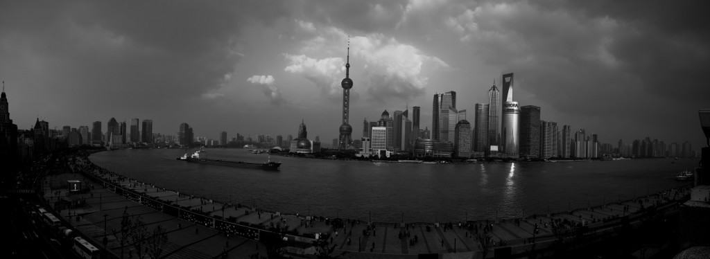 Beautiful panoramic views of Pudong, Shanghai across the river.
