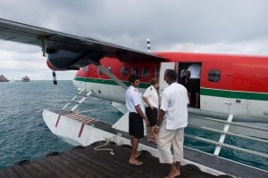 Getting off the seaplane.