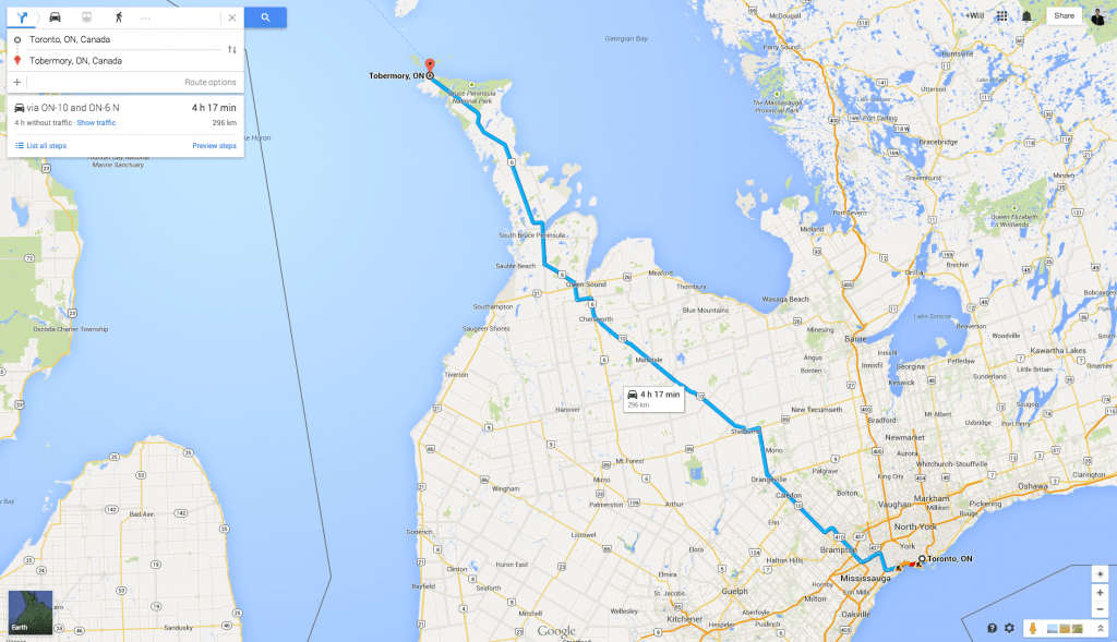 Google Map screenshot of the 4 hour journey from Toronto to Tobermory for a weekend trip
