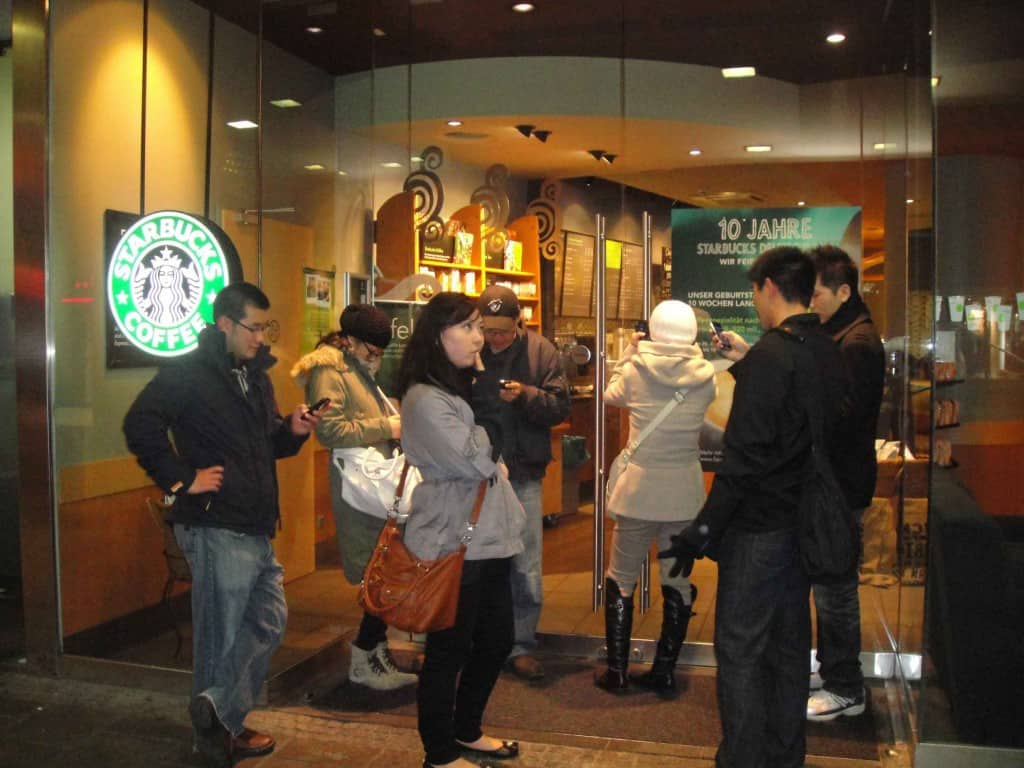 Standing around a closed Starbucks for free wifi. That's what life without data has come down to...